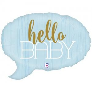 Hello Baby Folie ballon blauw
