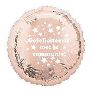 Gefeliciteerd met je communie | Rosé gouden Folie ballon